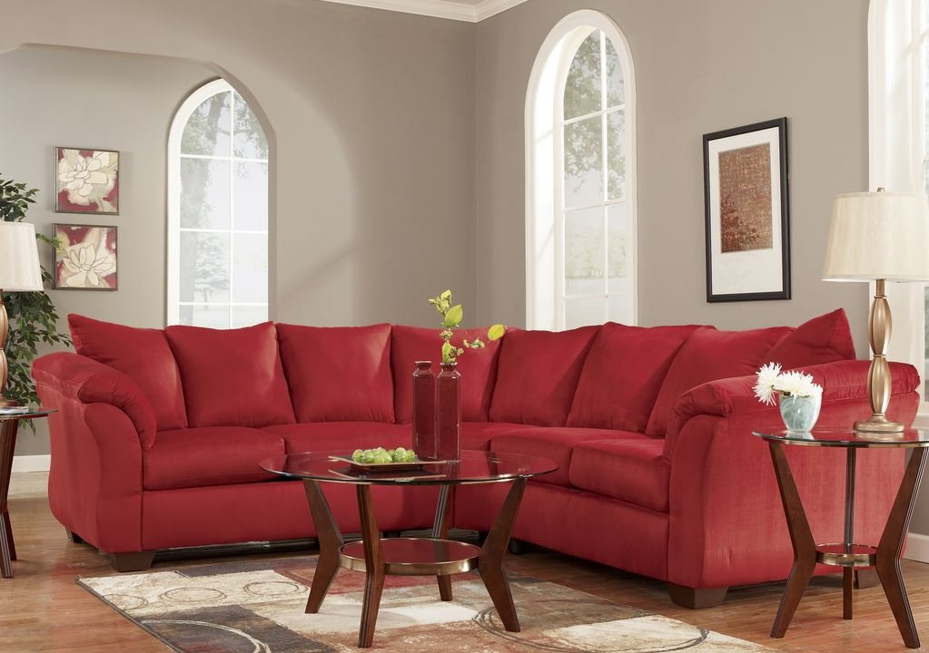Red Upholstery Fabric Sectional by Ashley Furniture -  - sofas-couches, living-room-furniture, living-room - 61997pANCXL -