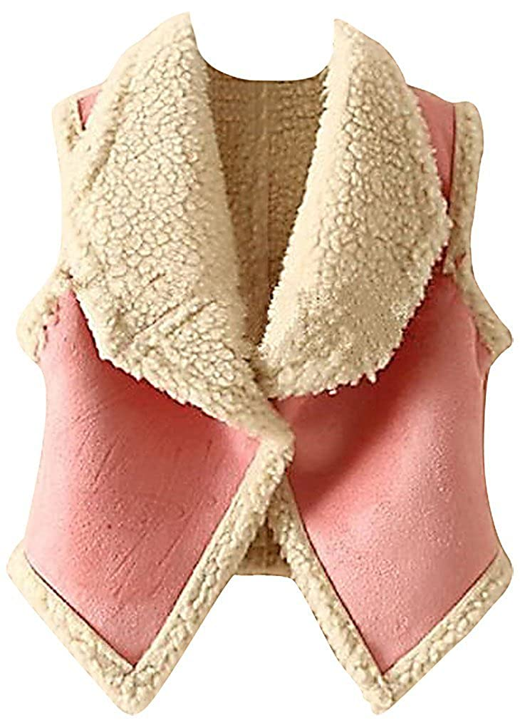 Girls Quilted Sherpa Vest Lightweight Soft Warm Pink Red Outerwear Sweety