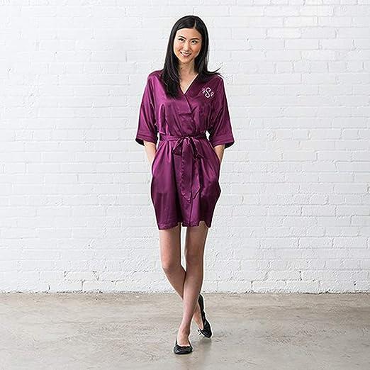 Weddingstar Inc. Womens Personalized Satin Robe with Pockets - Plum ...
