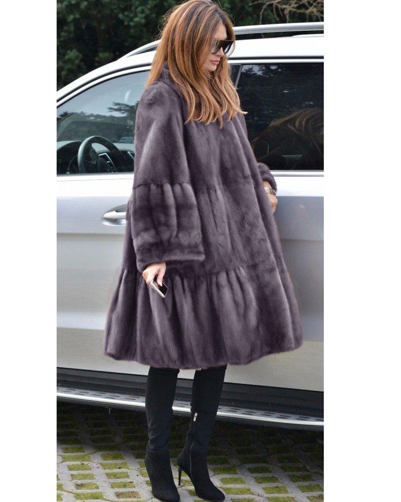 Aofur Luxury Faux Fur Parka Coat Long Lapel Trech Jacket Winter Outerwear Warm Overcoat Women Size S-XXXL (Medium, Grey) by Aofur (Image #6)