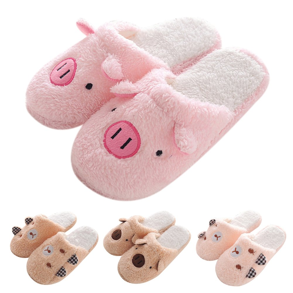 FUNOC Women Warm Winter Soft Cute Plush Anti-Slip Pig Slippers Shoes Indoor Home