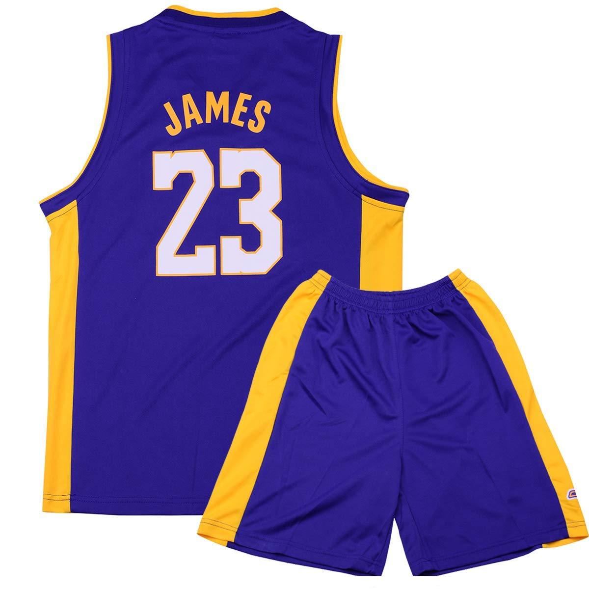 Formesy Bambini Ragazzi Ragazze Uomo Adulto NBA Lebron James #23 LBJ LA Lakers Retro Pantaloncino e Maglia Basketball Jersey Basket Maglie Uniforme Top /& Shorts 1 Set