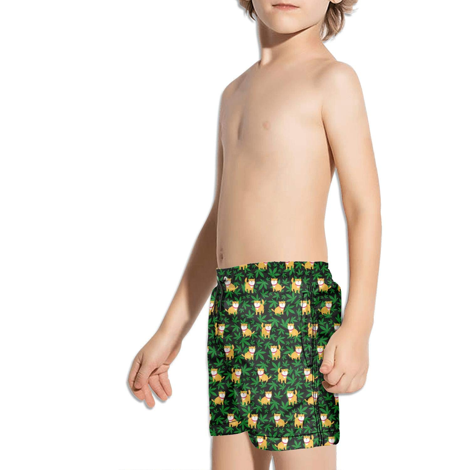FullBo Cannabis Leaf Dog Black Little Boys Short Swim Trunks Quick Dry Beach Shorts