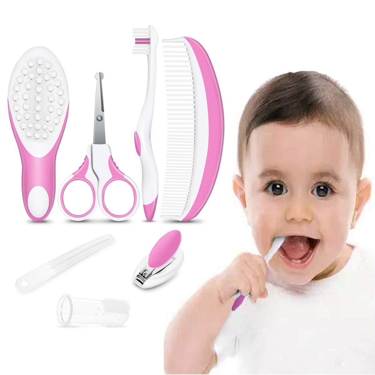 iRegro Baby Grooming Set, Healthcare Kit - 7-Piece Baby Grooming Kit Set (pink)