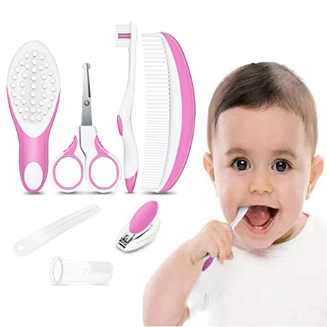 iRegro Cuidado del bebé,7 Pieces soins pour bébébébé Toilettage Set lime à ongles Brosse