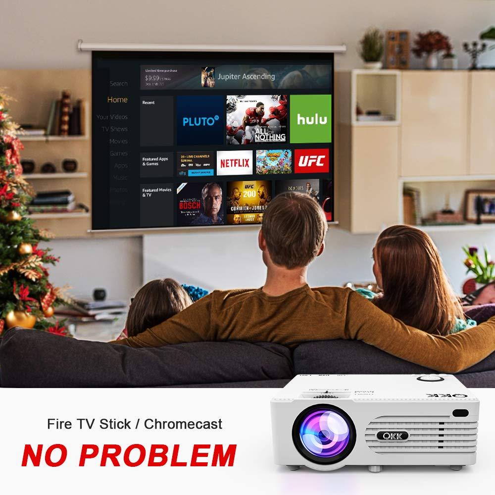 Proyector QKK, Mini Proyector con Estuche Portátil, Video Proyector Compatible con 1080P Full HD, Compatible con Fire TV Stick PS4 Xbox Chromecast PC ...