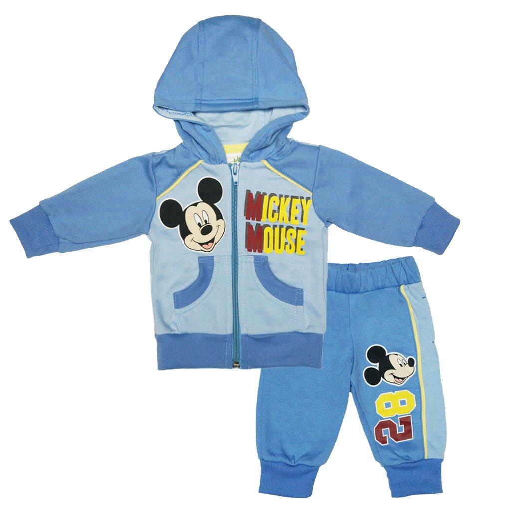 Jungen Mickey Mouse SPORT-ANZUG GEFÜTTERT zweiteilig, Sweat-Jacke mit Kapuze und langer Hose, GRÖSSE 62, 68, 74, 80, 86, 92, 98, 104, Jogging-Anzug mit Hoodie, Freizeit-Anzug blau GRÖSSE 62