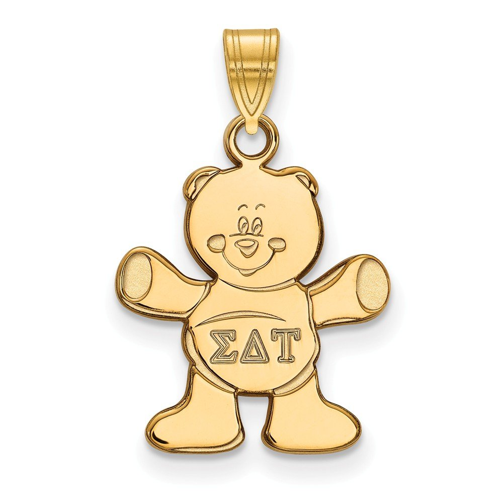 Solid 925 Sterling Silver with Gold-Toned Sigma Delta Tau Small Pendant 15mm x 23mm