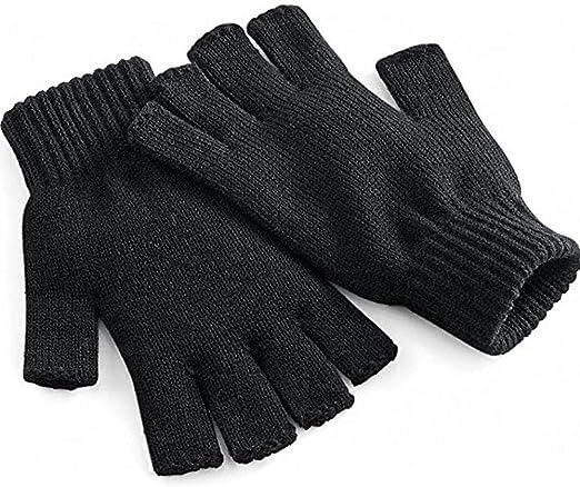 Adults Mens Winter Half Finger Gloves Plain Thermal Knitted  Fingerless Novelty
