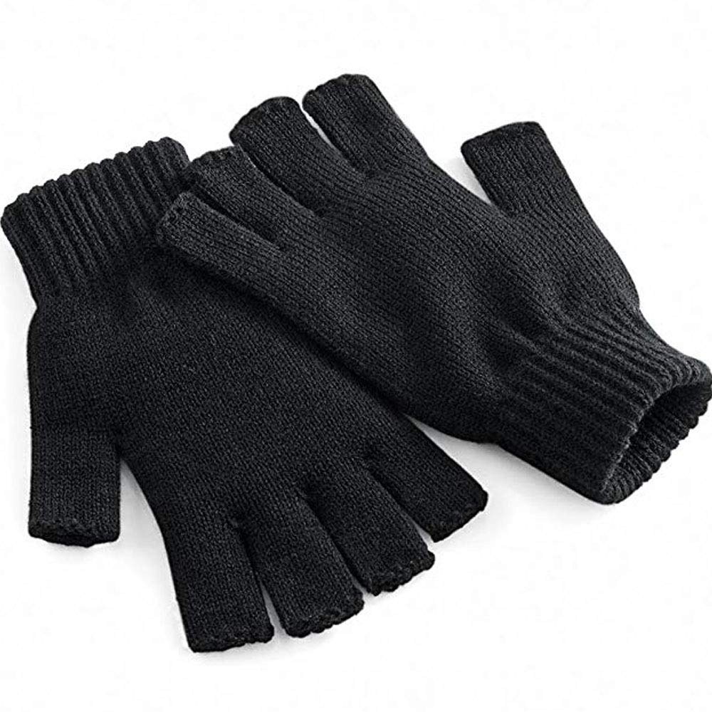 Unisex Warm Half Finger Knit Gloves Stretchy Women Men Winter Warmer Knitted Mittens Fingerless