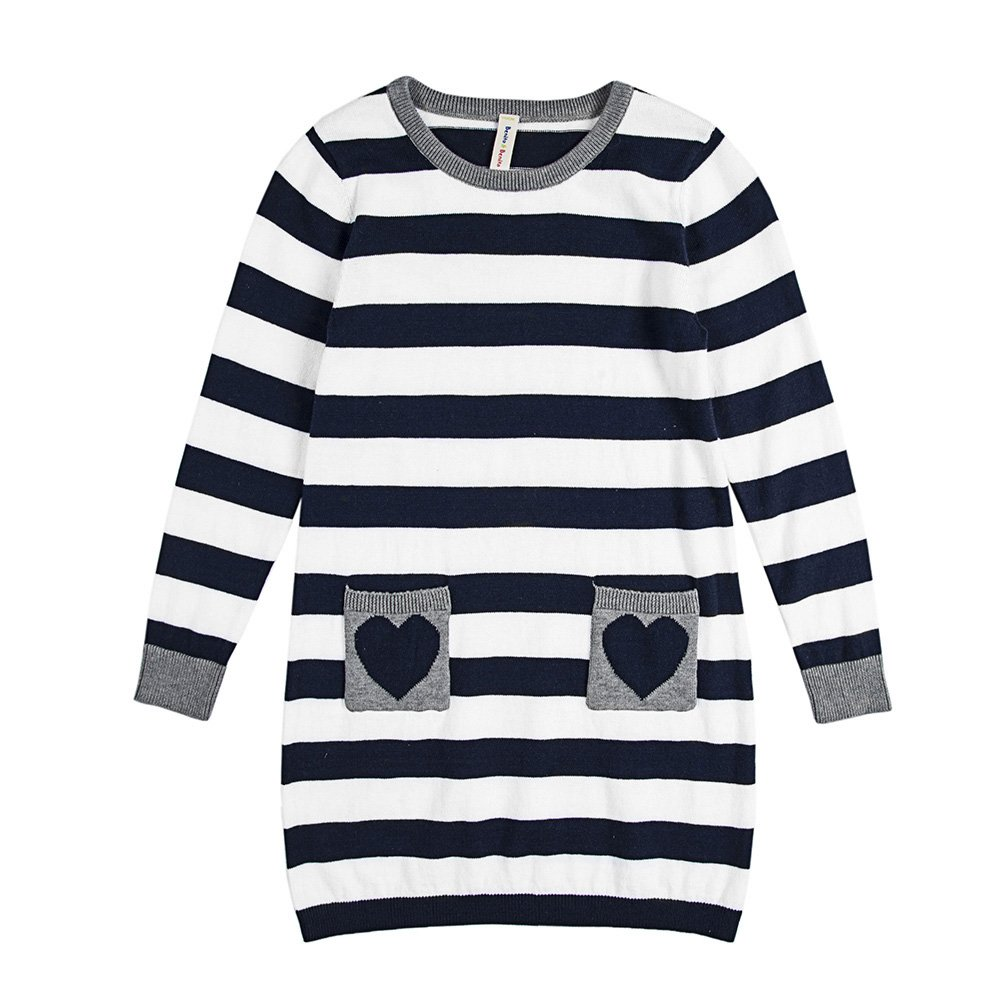 Benito & Benita Girls' Pullover Sweater Striped Cotton Dress Sweater Pockets Navy 2-7Y