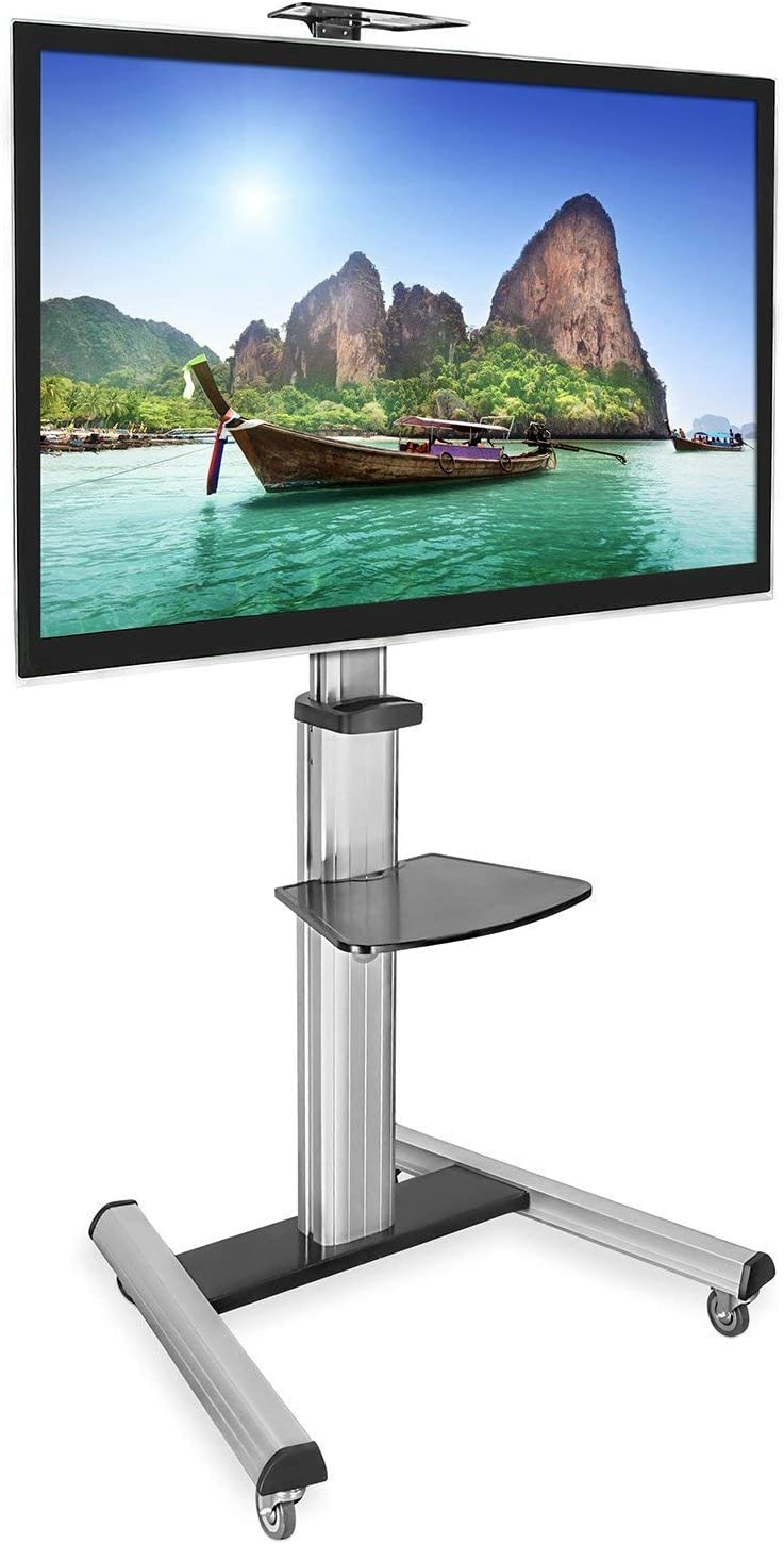 Mount-It Mobile TV Stand for Flat Screen Televisions, Height Adjustable Rolling TV Cart for 32, 40, 50, 55, 60, 65 and 70 Inch Screens, 110 Pound Capacity
