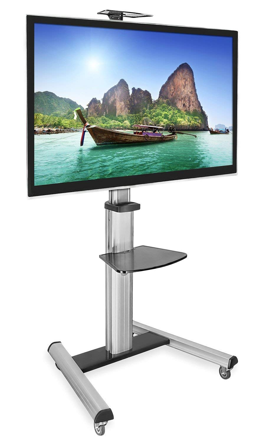 Mount-It! Mobile TV Stand for Flat Screen Televisions, Height Adjustable Rolling TV Cart for 32, 40, 50, 55, 60, 65 and 70 Inch Screens, 110 Pound Capacity by Mount-It!