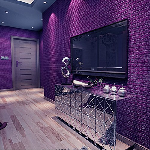 3D Brick Pattern PE Foam DIY Waterproof Self-adhesive Wallpaper, Living Room TV Sofa Bedroom Background Decoration (Purple)