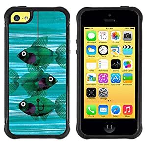 LASTONE PHONE CASE / Suave Silicona Caso Carcasa de Caucho Funda para Apple Iphone 5C / Fishing Meaning Teal Hook Deep