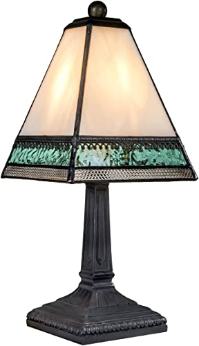 J Devlin Lam 696 TB Small Tiffany Style Stained Glass Miniature Table Lamp Ivory Aqua Blue and Clear with Filigree