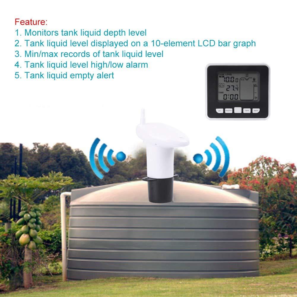 Ultrasonic Level Monitor,Acogedor Wireless Liquid Level Sensor,Tank Liquid Depth Level Meter Sensor with Temperature Display by Acogedor