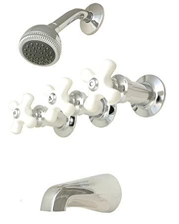 3 handle tub shower faucet repair chrome plated porcelain compression stems replacement hampton and in satin nickel