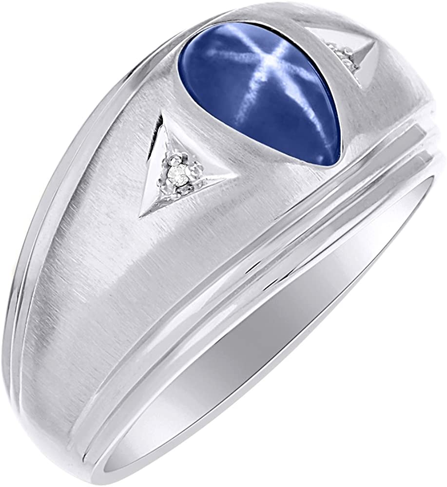 Diamond /& Simulated Blue Star Ring Sterling Silver or Yellow Gold Plated Silver Band