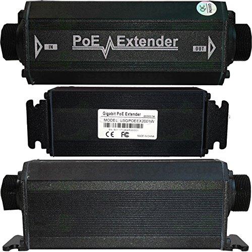 USG Outdoor Weather-poof Gigabit Ethernet & Power Over Ethernet Signals Extender Booster : PoE+ 25W, No External Power Supply, RJ45 Jacks, Extend PoE & Network Ethernet Signal 300ft : Business Grade by Urban Security Group (Image #1)