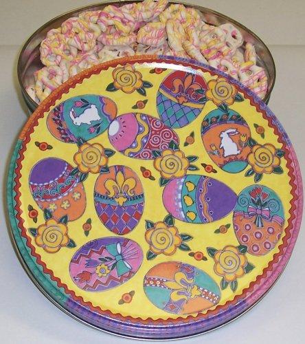 Scott's Cakes Valentine Pretzels in a Large Easter Egg Tin