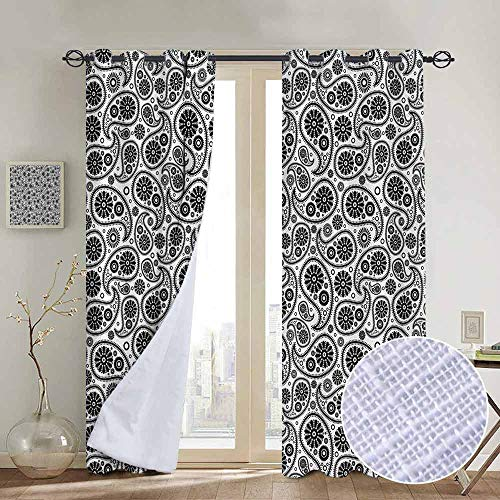 NUOMANAN Bedroom Curtain Paisley,Sixties Themed Design with Floral Geometrical Details Circle Backgrounded,Black and White,Insulating Room Darkening Blackout Drapes 84