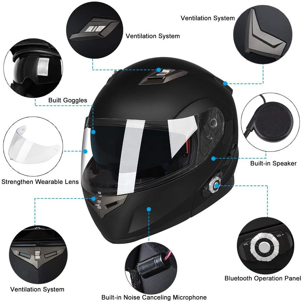 Motorcycle Bluetooth Helmets Range 500M,2-3Riders Pairing,FM radio,Waterproof,XL,Gray FreedConn Flip up Dual Visors Full Face Helmet,Built-in Integrated Intercom Communication System