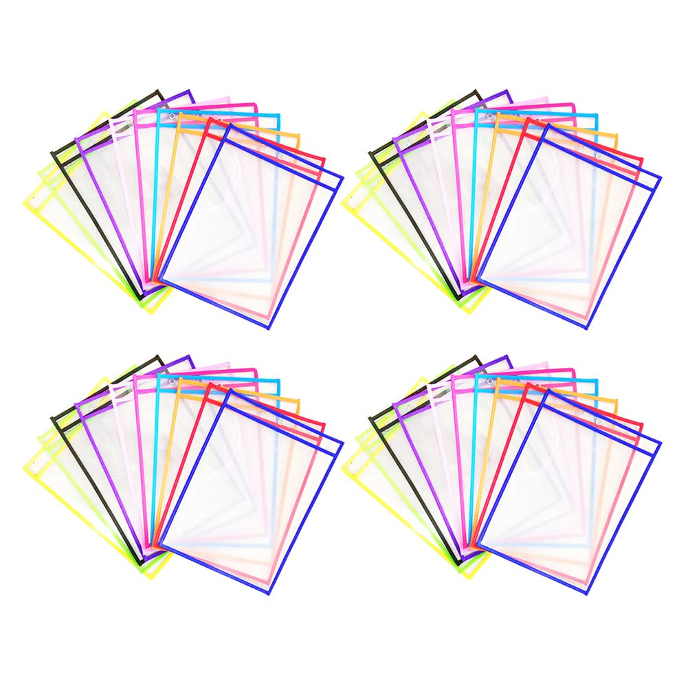 Loghot 40Pcs Clear Dry Erase Pockets Multi-Colored Reusable Sheets Oversized Hanging Ticket Holder for Office, School, Work (40 Pack) by Loghot