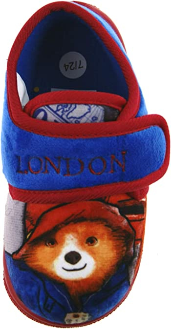 Kids Slippers Paddington Bear Touch Fasten Blue Red Indoor Shoes UK 5-10