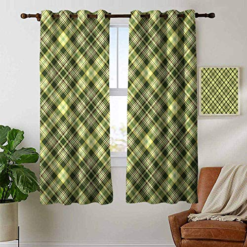 (Living Room Curtains Green and Brown,Diagonal Checkered Pattern Irish Tartan Geometric Classic Arrangement,Fern Green Brown,Adjustable Tie Up Shade Rod Pocket Curtain 42