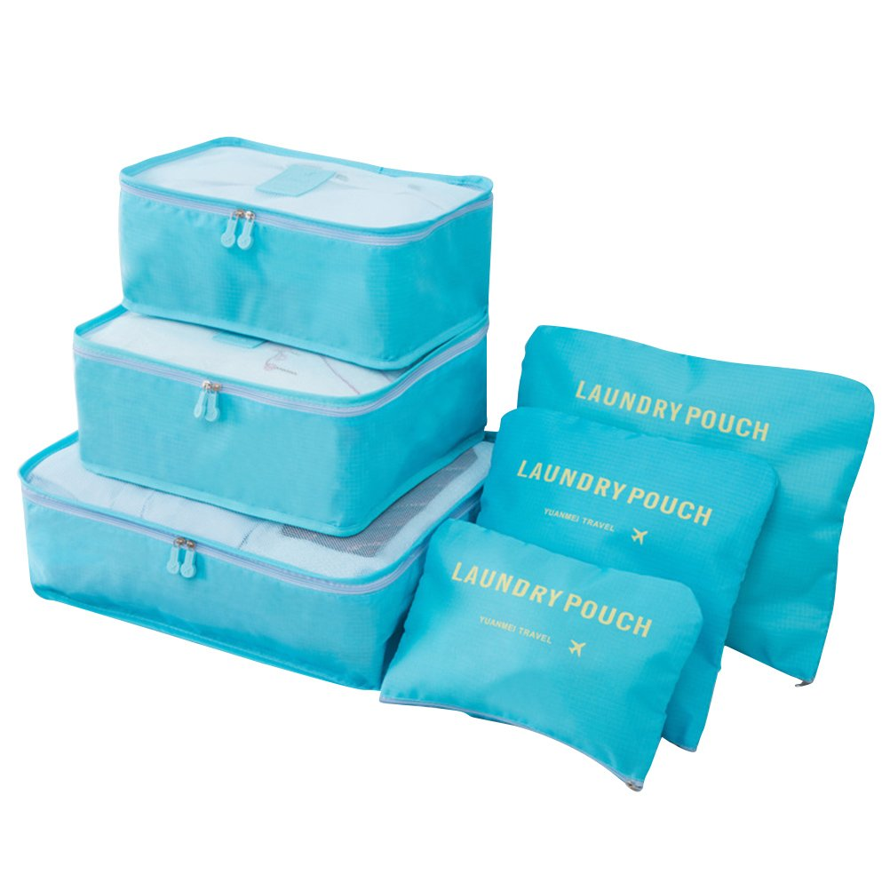 VORCOOL 6PCS Travel Storage Bag High Capacity Clothes Tidy Pouch Luggage Organizer Portable Container Waterproof Storage Case (Sky Blue)