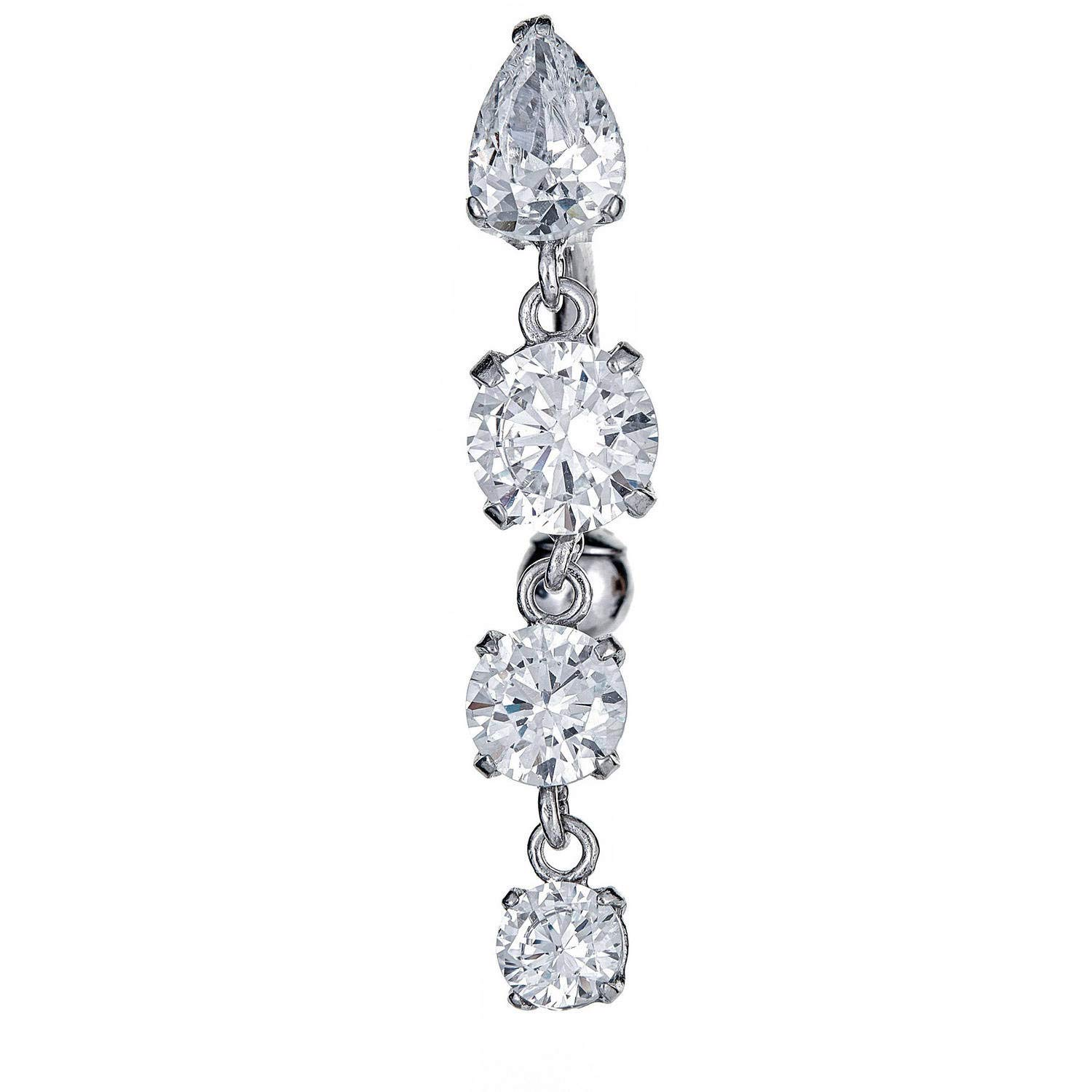 Zahaav Jewelry 10kt Solid White Gold Dangling Belly Button Ring with CZ by Zahaav Jewelry