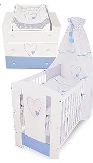 457eb792d426 Berceau bebe lit bébé cododo 120 x 60 cm cœur bleu avec Set de lit complète