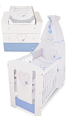 Berceau Bebe Lit Bébé Cododo 120 X 60 Cm Cœur Bleu Avec Set De Lit Complète