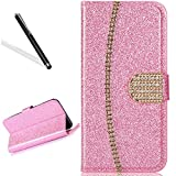 Wallet Case for Huawei P10 Lite,Bling Glitter Folio Case for Huawei P10 Lite,Leeook Luxury Noble Sparkle Shining Gold Chain Design PU Leather Wallet Flip Case in Book Style with Card Slots Cash Holder Stand Function Gold Chain Design Magnetic Closure TPU Silicone Inner Protect Cover for Huawei P10 Lite + 1 x Black Stylus