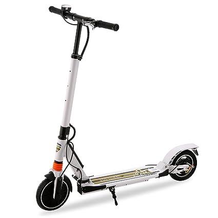 AIMADO Patinete eléctrico para jóvenes y Adultos, 250 W, Negro, Plegable y Muy Ligero (8,5 kg), Velocidad de hasta 20 km/h, Freno Doble