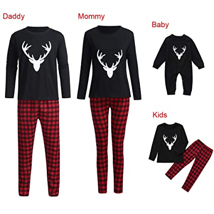 EnjoCho Family Matching Clothes ☛☛Family Pajamas Set Christmas Plaid Adult  Women Kids Baby New ca3e0fa46