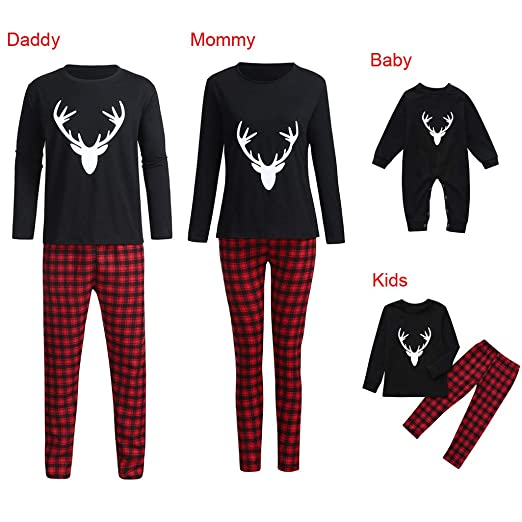 GzxtLTX Family Christmas Matching Pajama Set with Baby Black Reindeer  Printed Plaid Sleepwear Nightwear (100 4be7db0ea