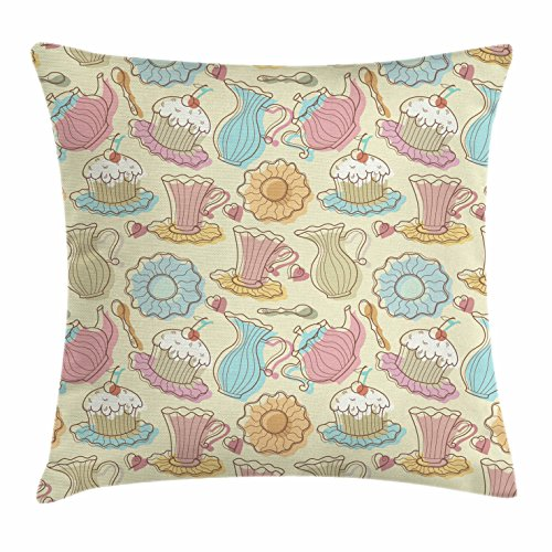 Ambesonne Tea Party Throw Pillow Cushion Cover, Old Fashioned Hand Drawing Style Creamy Cupcakes Mugs Coffee Drinks Cute Hearts, Decorative Square Accent Pillow Case, 28 X 28 Inches, Multicolor - Old Fashioned Coffee Cake