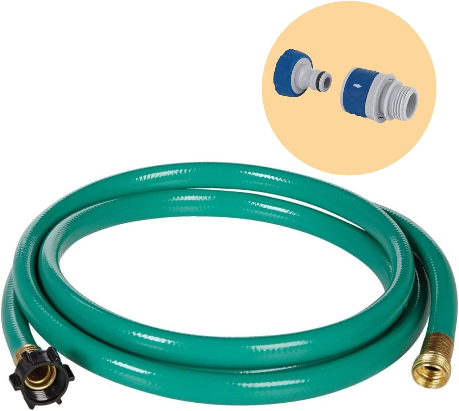 Do it Best Hose Reel Leader Garden Watering Hose- Male & Female Brass Coupler Connections- 6ft x 5/8in.- W/ Rustproof Quick Connect Adapter for Easy Connect & Disconnect of Threaded Hose Nozzles