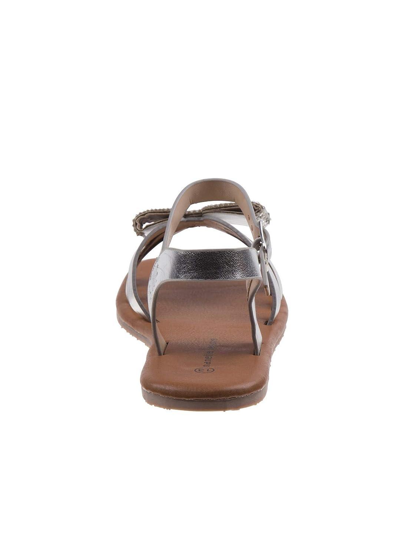 Nanette Lepore Girls Silver Glitter Bow Applique Buckle Sandals 11-4 Kids