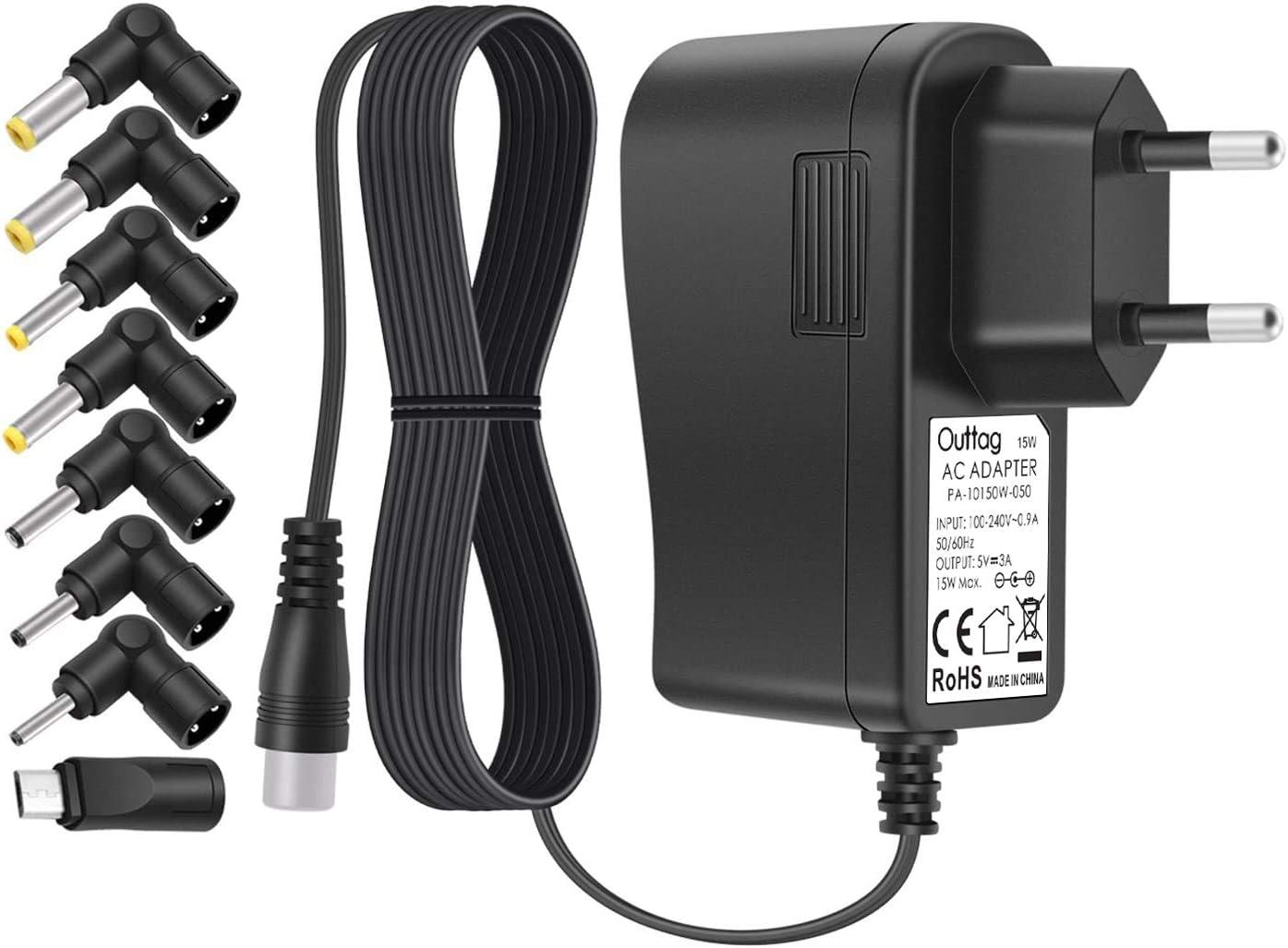 Outtag - Cargador adaptador universal de 15 W, 5 V, 3 A, fuente de alimentación con 8 conectores para router Bluetooth, altavoces, Kindle, cámaras de radio DVR Power Bank Scanner