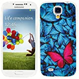 S4 Case,Samsung S4 Case,Galaxy S4 Case,ChiChiC full Protective Case slim durable Soft TPU Cases Cover for Samsung Galaxy S4 Galaxy S IV,pink butterfly on beautiful background with blue butterflys