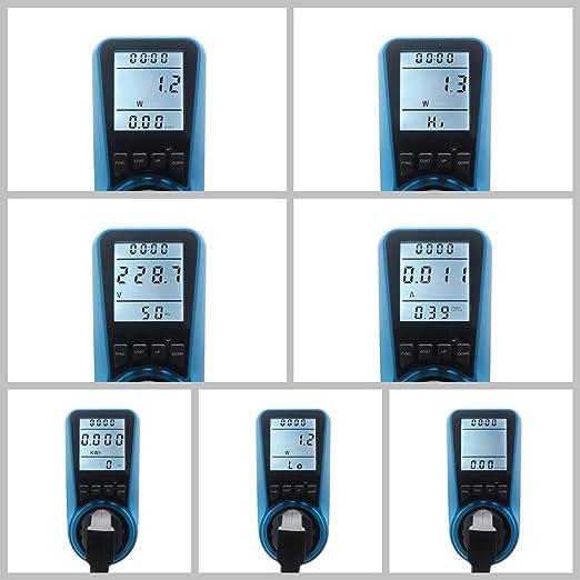 Azul KETOTEK Medidor de Potencia Enchufe Digital Medidor de Voltaje Probador actual LCD 230V-250V Medidor de Consumo de Energ/ía Calculadora de Costo de Energ/ía Interruptor de Alimentaci/ón