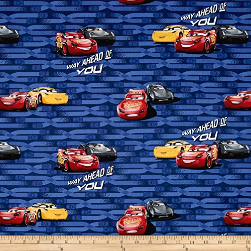 Disney Pixar Cars Fabric - E. E. Schenck Disney Pixar Cars 3 McQueen and Cruz Multi Fabric by The Yard, Multicolor
