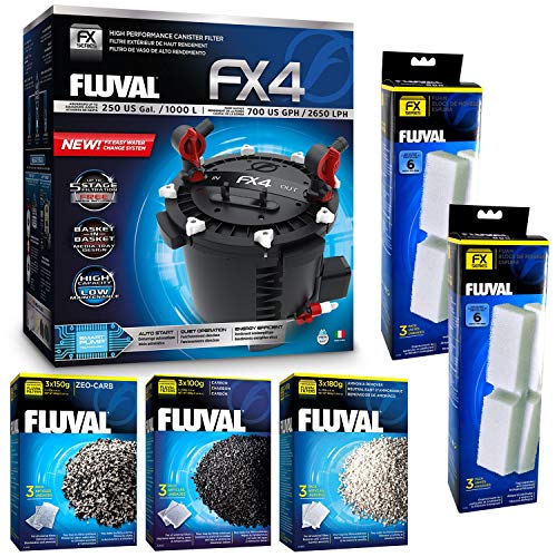 Fluval FX4 Filter w/Filter Foam, Ammonia Remover, Zeo-Carb & Carbon (6 Month Supply) (Best Canister Filter For 90 Gallon Tank)