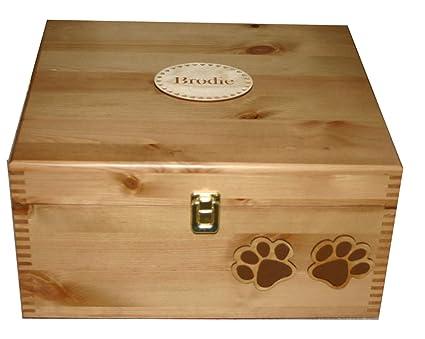 Grande personalizado madera de pino y perro adorno de caja de almacenaje de memoria - marco