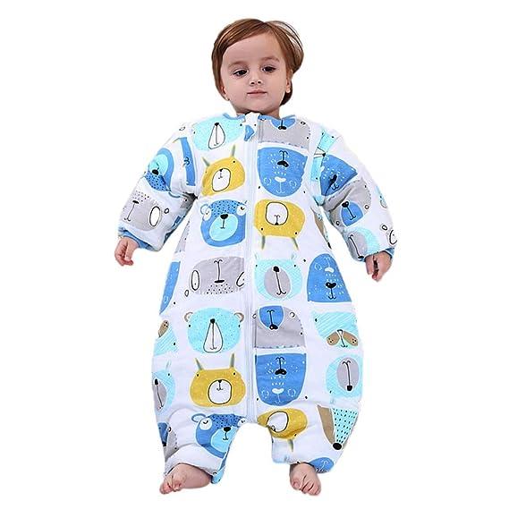 Mallalah Durmiente Bebé Mono Conjunto de Ropa de Dormir Manga Larga Saco de Dormir Extraíble de