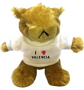 Marmota de peluche (llavero) con Amo Valencia en la camiseta (nombre de pila