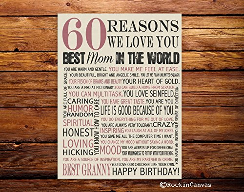 60th Birthday Present, Reasons we love you, 30th, 40th, 50th, 70th, 80th, 90th, Custom Birthday Gift, Anniversary gift, Mother BirthRockinCanvas (Susan Art Deco Print)